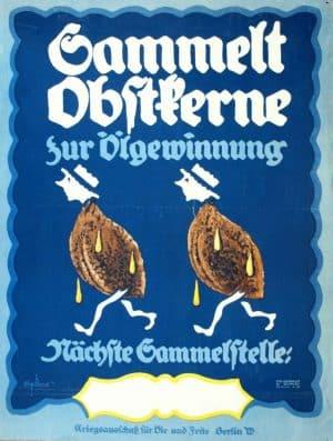 Affiche pour la collecte de noyaux de fruits destinés à la fabrication d'huile.